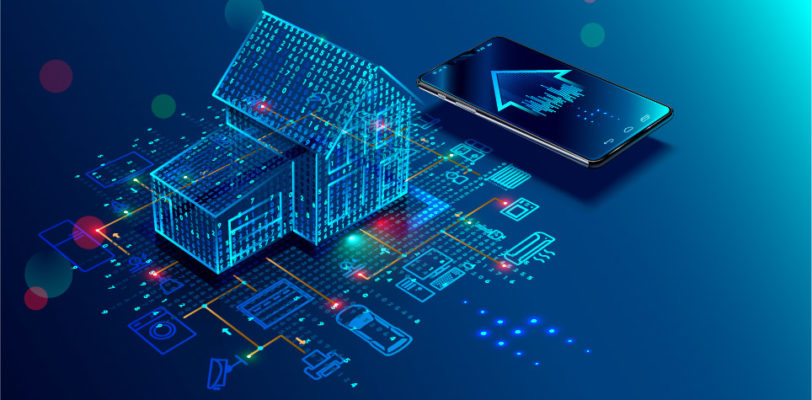 blue digital house and cell phone describing smart home