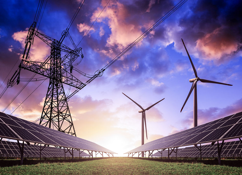 wind turbines and electrical wiring with cloudy sky